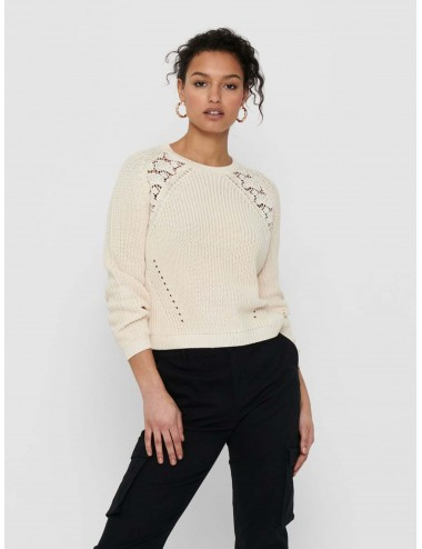 JERSEY onlMAGA LIFE L/S LACE PULLOVER KNT NOOS SS21